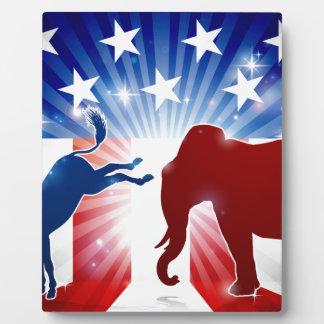 Silhouette Elephant Fighting Donkey Plaque