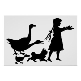 Silhouette Feeding Time on the Farm Poster