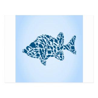 Silhouette fish postcard