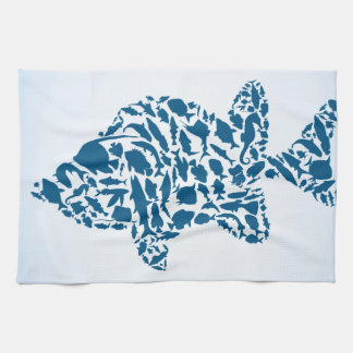 Silhouette fish tea towel