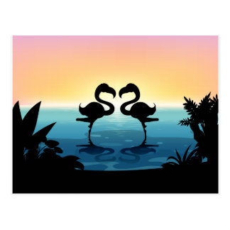 Silhouette flamingo standing in the pond postcard
