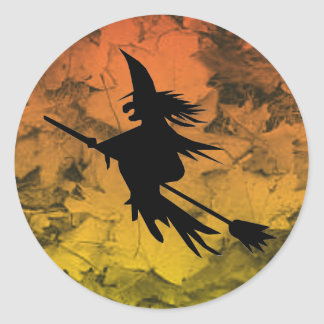 Silhouette Flying Witch Fall Leaves Halloween Classic Round Sticker