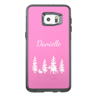Silhouette forest and wildlife in white and pink OtterBox samsung galaxy s6 edge plus case