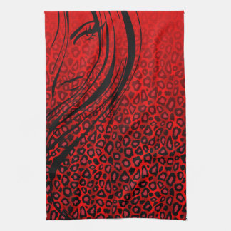 Silhouette Girl | Red Leopard Animal Print Tea Towel