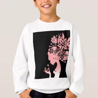 Silhouette Girl Smelling Pink Flower Sweatshirt