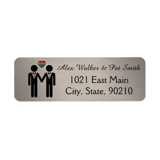 Silhouette Groom and Groom - Tall Return Address Label