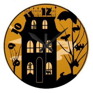 Silhouette Halloween House Clock