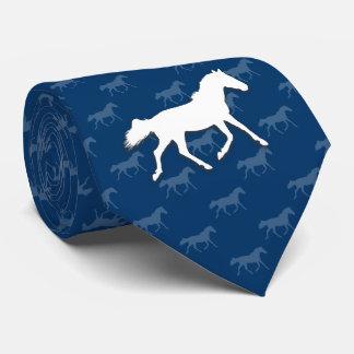 Silhouette Horses Pattern | Blue Tie