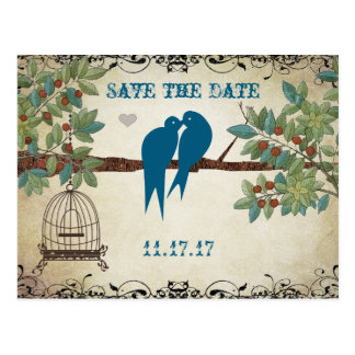 Silhouette Love Birds Bird Cage Tree Save the Date Postcard
