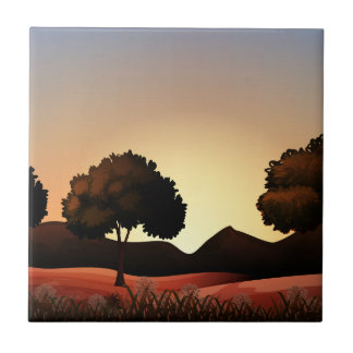 Silhouette nature scene with field and trees small square tile