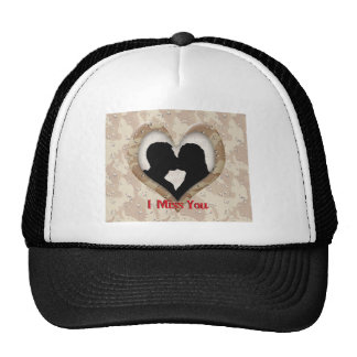 """Silhouette of a Couple Kissing """"I Miss You"""" Trucker Hats"""