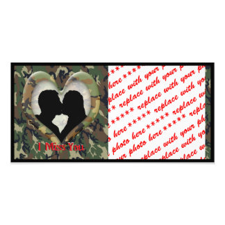 """Silhouette of a Couple Kissing """"I Miss You"""" Photo Card Template"""