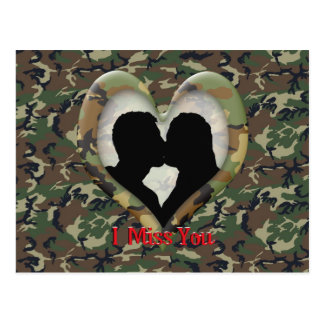 """Silhouette of a Couple Kissing """"I Miss You"""" Postcard"""