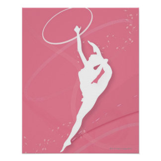 Silhouette of a female gymnast performing with a poster