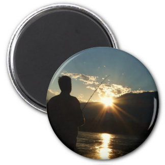 Silhouette of a Fisherman 6 Cm Round Magnet