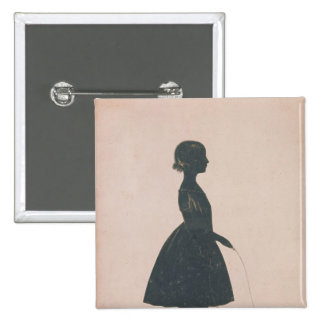 Silhouette of a girl with a skipping rope pinback button