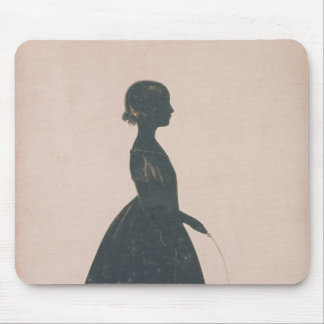 Silhouette of a girl with a skipping rope mouse pad