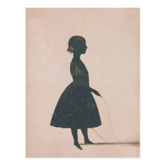 Silhouette of a girl with a skipping rope postcard
