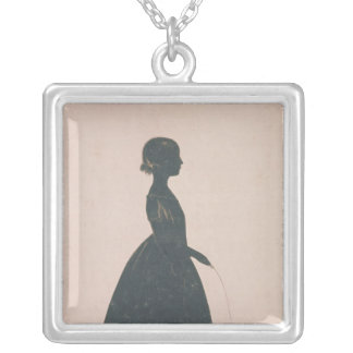 Silhouette of a girl with a skipping rope silver plated necklace