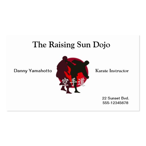 Silhouette of a Karate Fight, Red Sun Background Business Card Templates