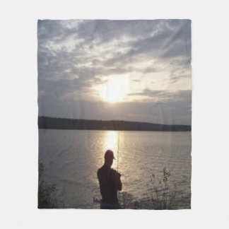 Silhouette of a Man Fishing at Sunset Fleece Blanket