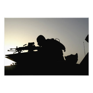 Silhouette of a Squad Automatic Weapon gunner Art Photo