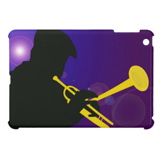 Silhouette of a Trumpet Player on Purple and Blue Case For The iPad Mini
