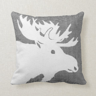 Silhouette of a white moose on a soft grey bckgrnd cushion