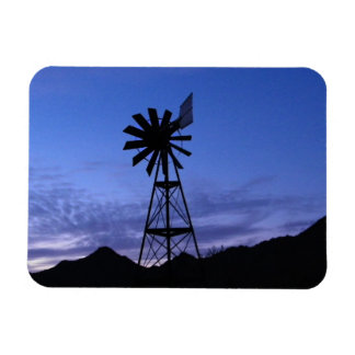 Silhouette of a windmill rectangular photo magnet
