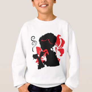 Silhouette of a Young female holding hot coffee Sweatshirt