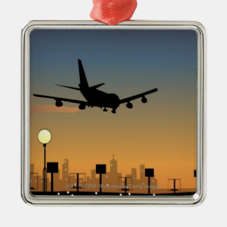 Silhouette of an airplane in flight Silver-Colored square decoration