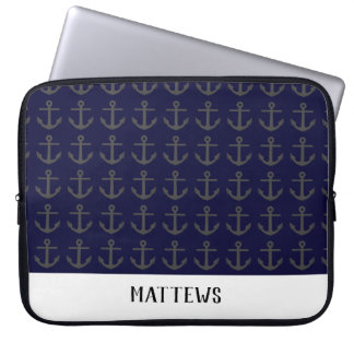 Silhouette of anchor laptop sleeve