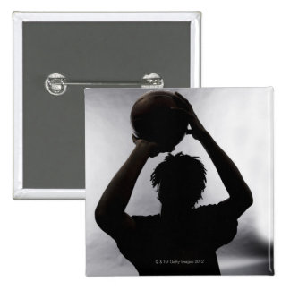 Silhouette of basketball player 15 cm square badge