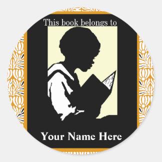 Silhouette of Boy Reading ~ Bookplate Round Sticker