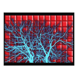 Silhouette of branches on a background of red tile photographic print