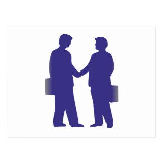 Silhouette of businessmen business men postcard