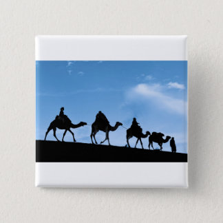 Silhouette of Camel Caravan 15 Cm Square Badge