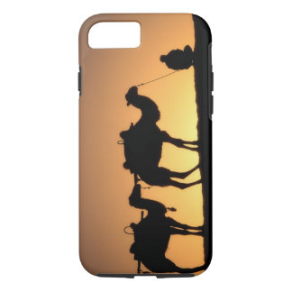 Silhouette of camel caravan on the desert at 2 iPhone 7 case
