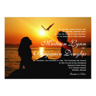 Silhouette of couple in sunset on the beach 13 cm x 18 cm invitation card
