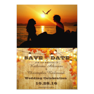Silhouette of couple in sunset on the beach /fall 13 cm x 18 cm invitation card