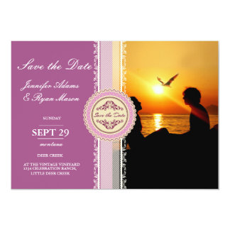 Silhouette of couple in sunset on the beach /pink card