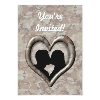 """Silhouette of Couple Kissing (Camouflage Heart) 5"""" X 7"""" Invitation Card"""