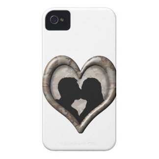 Silhouette of Couple Kissing (Camouflage Heart) iPhone 4 Covers