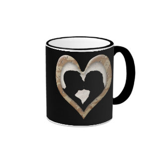 Silhouette of Couple Kissing (Camouflage Heart) Mugs