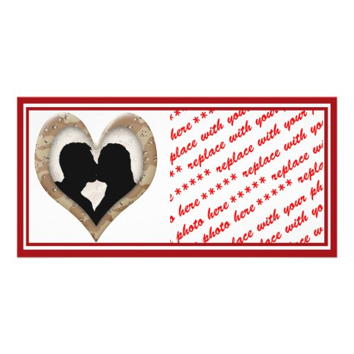Silhouette of Couple Kissing (Camouflage Heart) Photo Card Template
