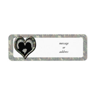 Silhouette of Couple Kissing (Camouflage Heart) Return Address Label