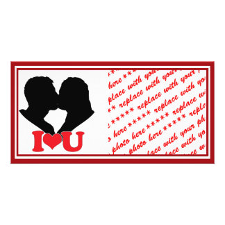 """Silhouette of Couple Kissing With """"I♥U"""" Photo Card Template"""