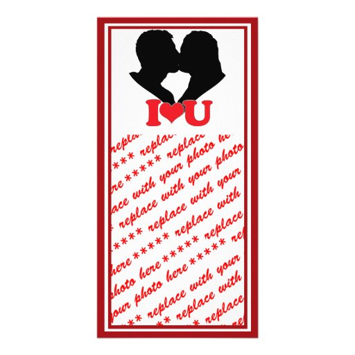 "Silhouette of Couple Kissing With ""I♥U"" Photo Card Template"