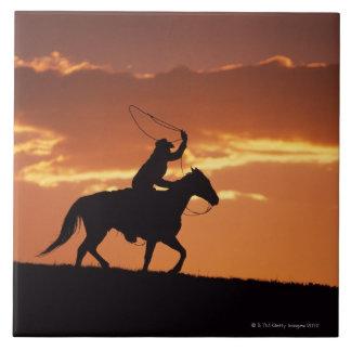 Silhouette of cowboy on horseback near Fairplay, Ceramic Tile