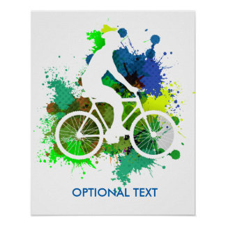 Silhouette of Cyclist on MultiPaint Splatters V2 Poster